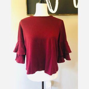 Anthropologie W5 ruffle sleeve blouse